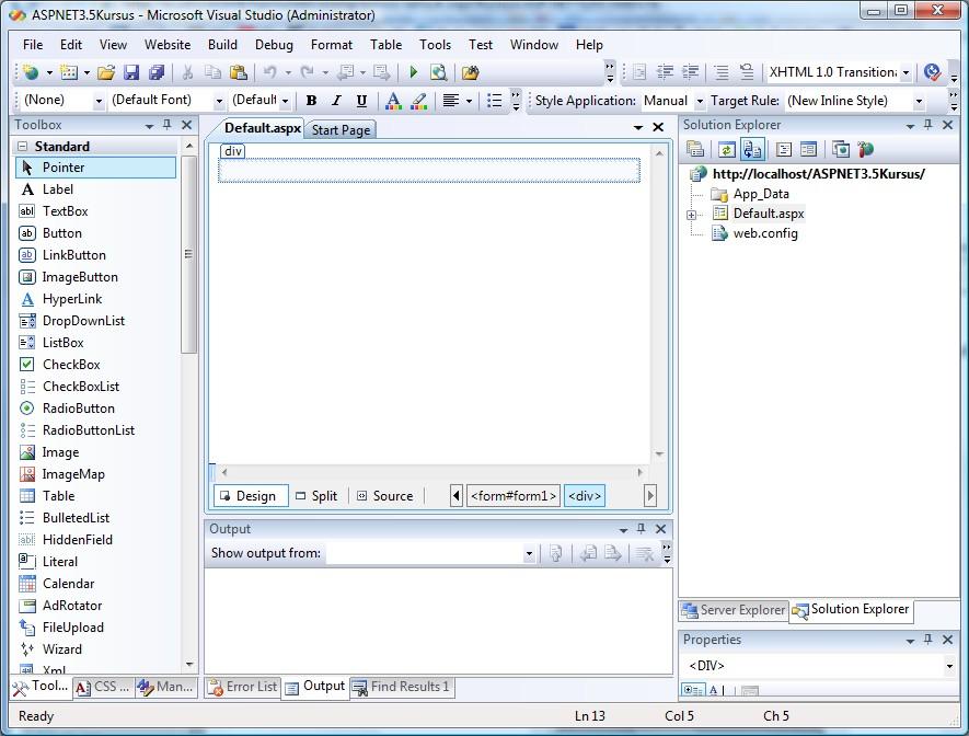 ASP.NET 2.0 kursus - visual studio .net (vs.net) brugerflade  2 - fjernundervisning