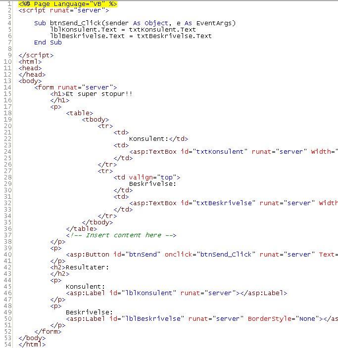 ASP.NET kursus - en simpel asp.net side - fjernundervisning